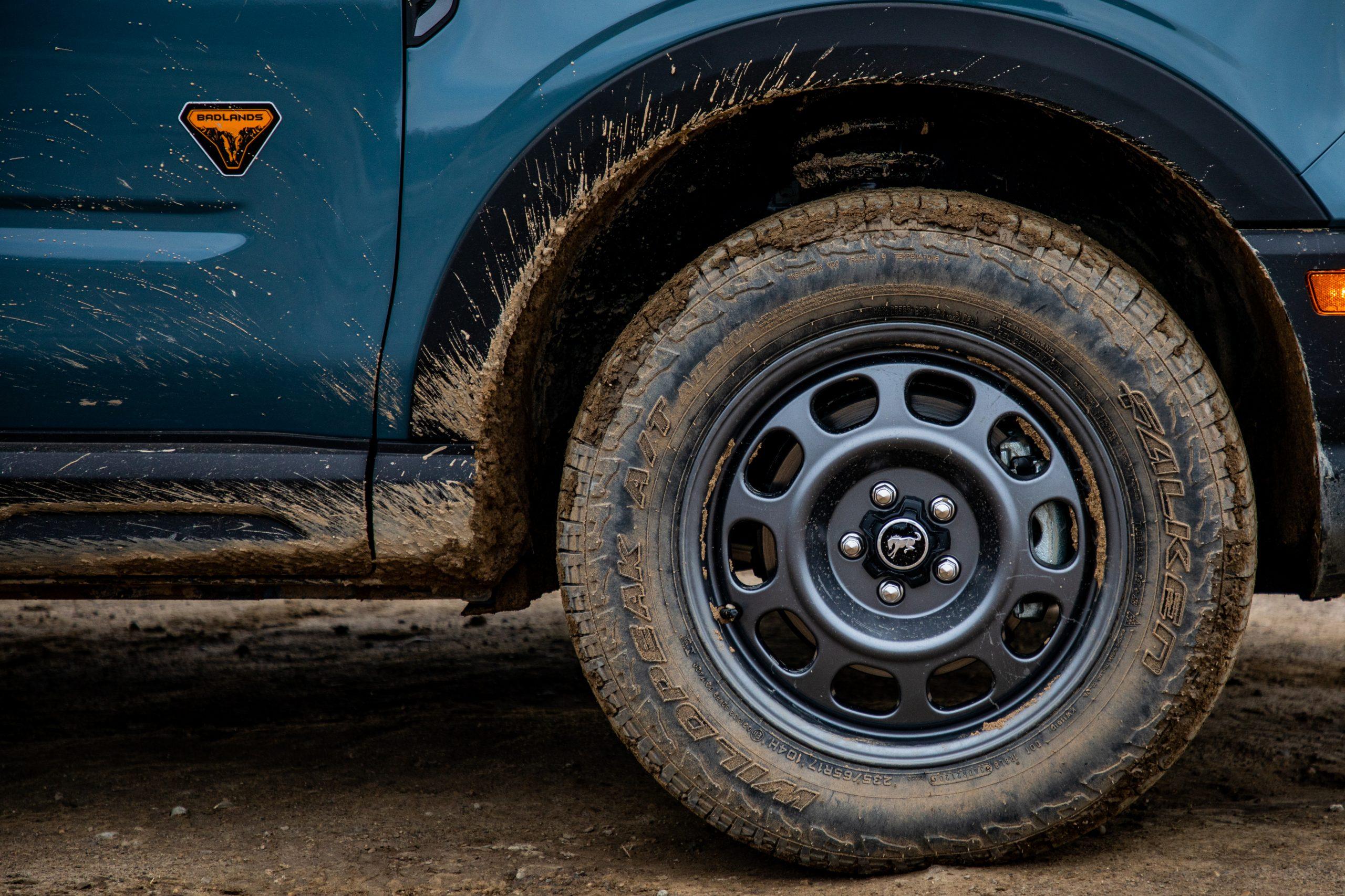 2021 Bronco Sport Badlands muddy wheel