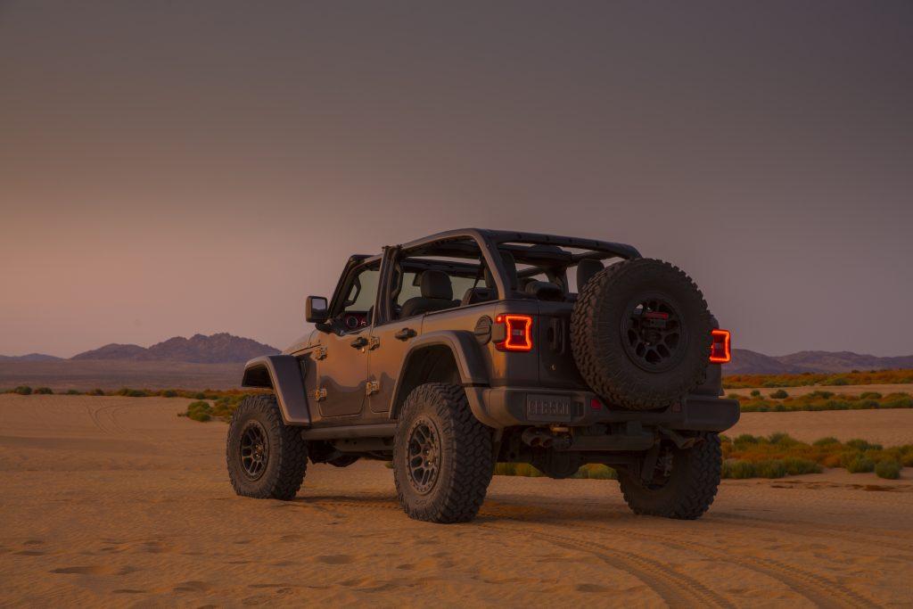 2021 Jeep Wrangler Rubicon 392 gray rear three quarter sandy