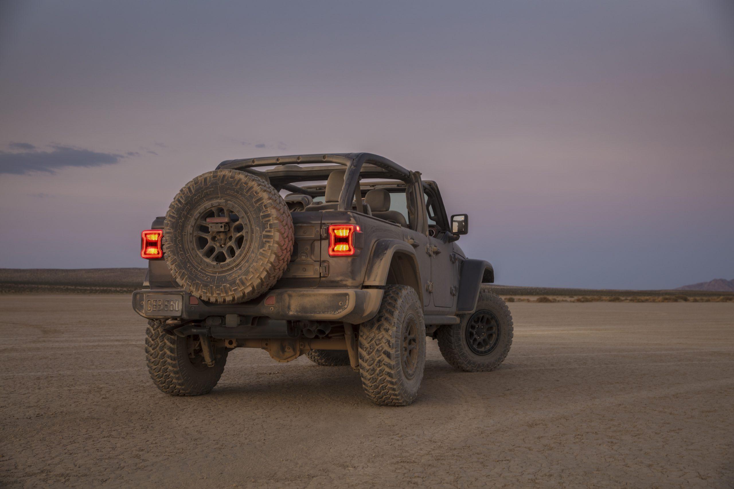 2021 Jeep Wrangler Rubicon 392 gray rear three quarter dusty