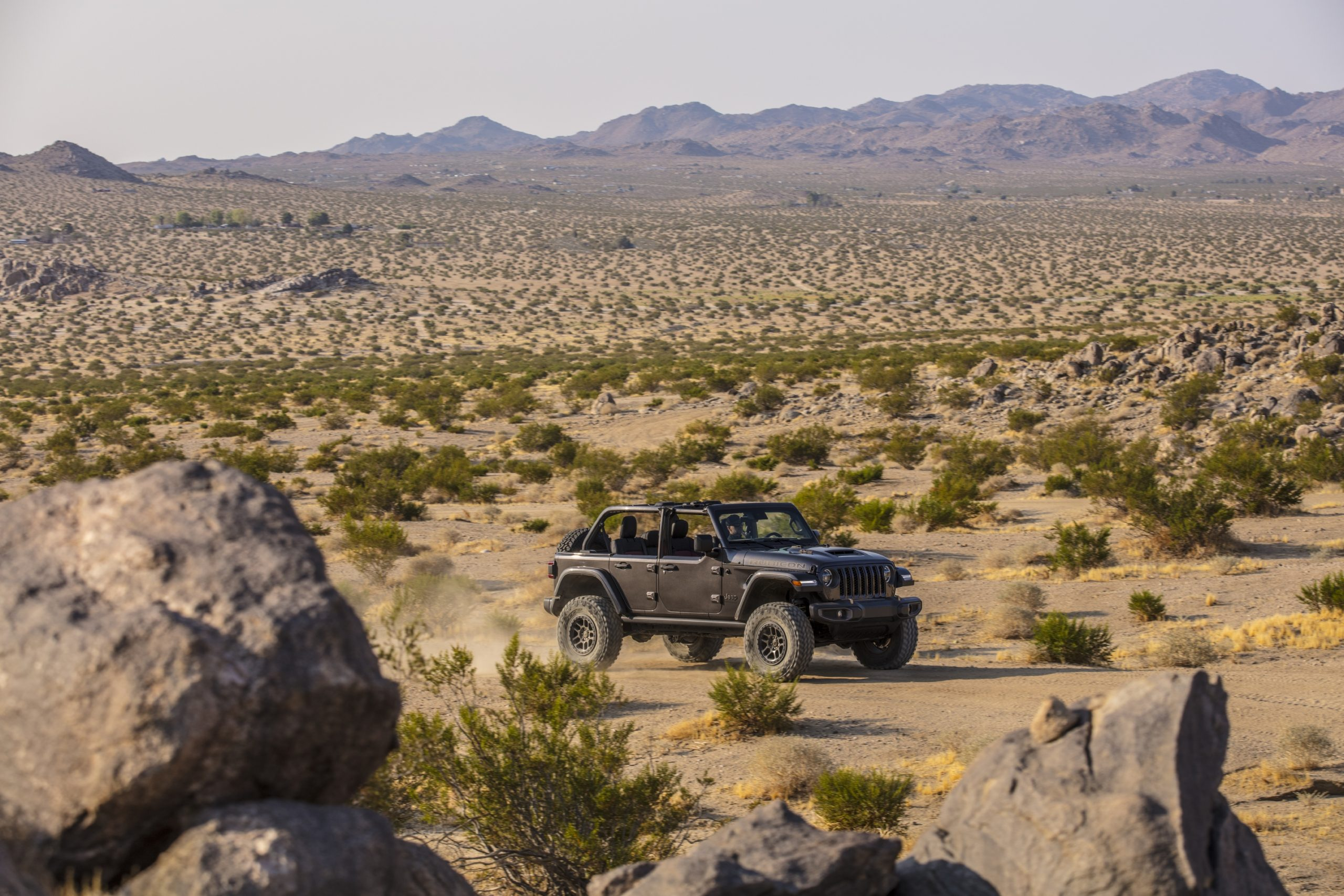 2021 Jeep Wrangler Rubicon 392 gray cruising in desert