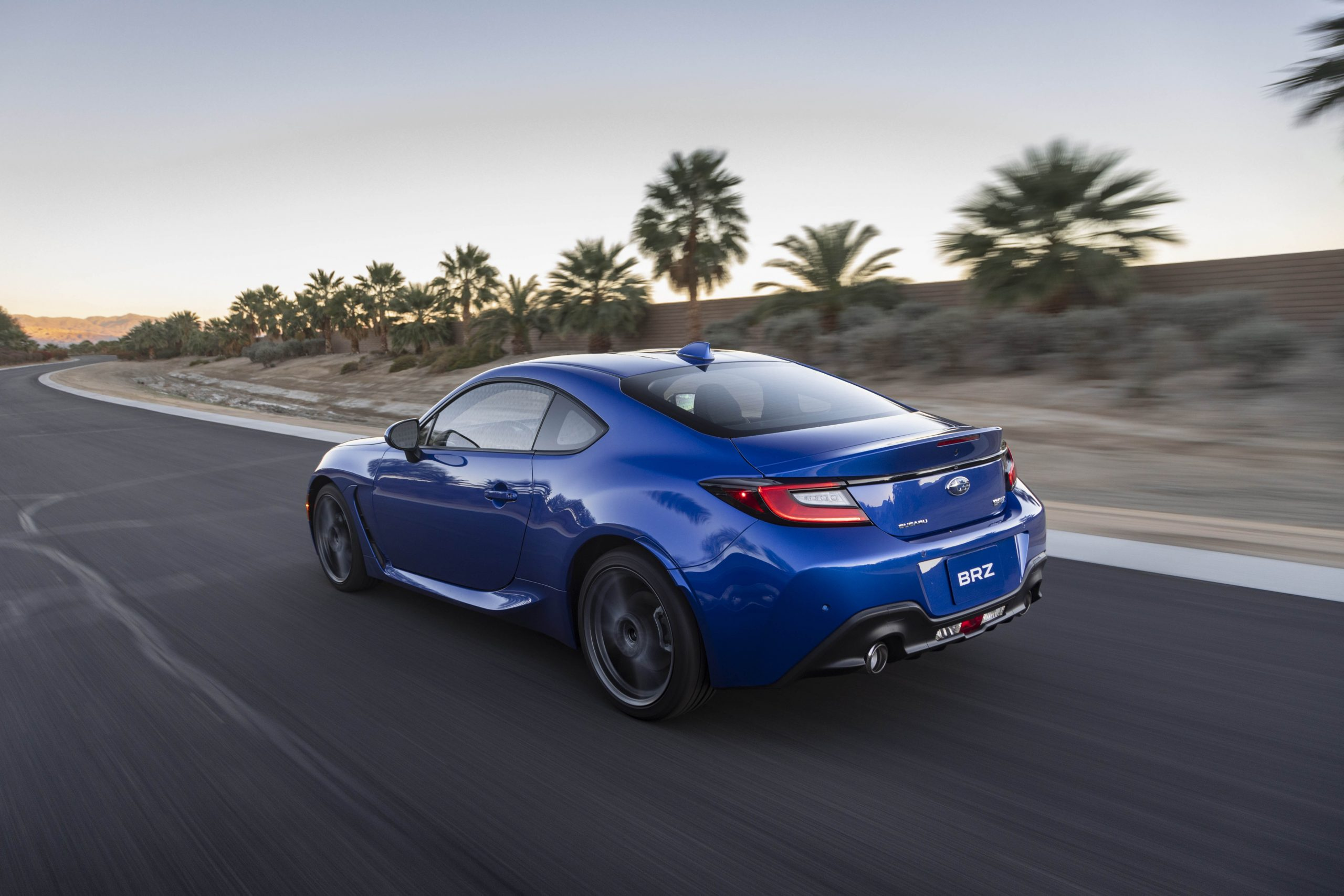 New 2022 Subaru BRZ rear three-quarter road action