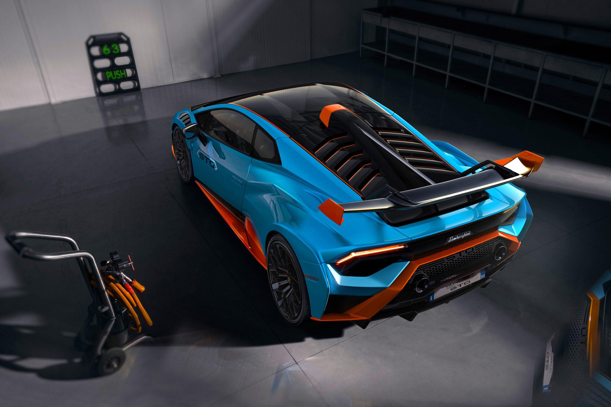 Lamborghini Huracan STO overhead rear garage 2