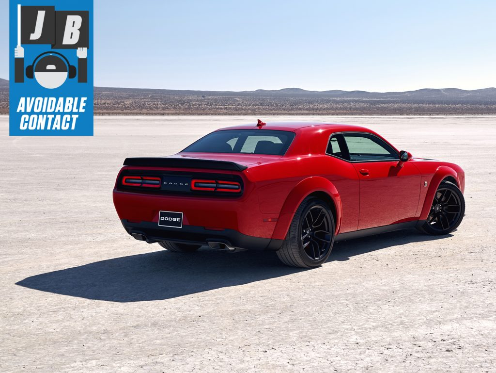 Red Dodge Challenger Widebody rear three-quarter