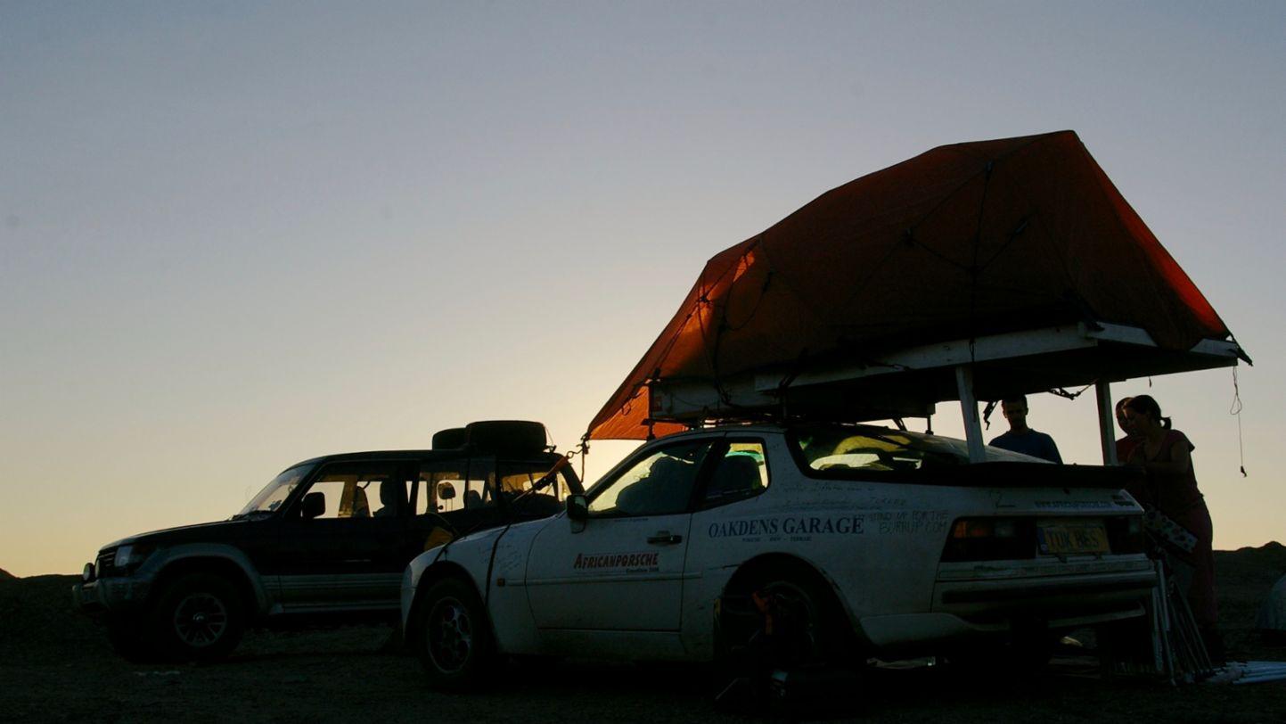 Africa Porsche 944 tent popped