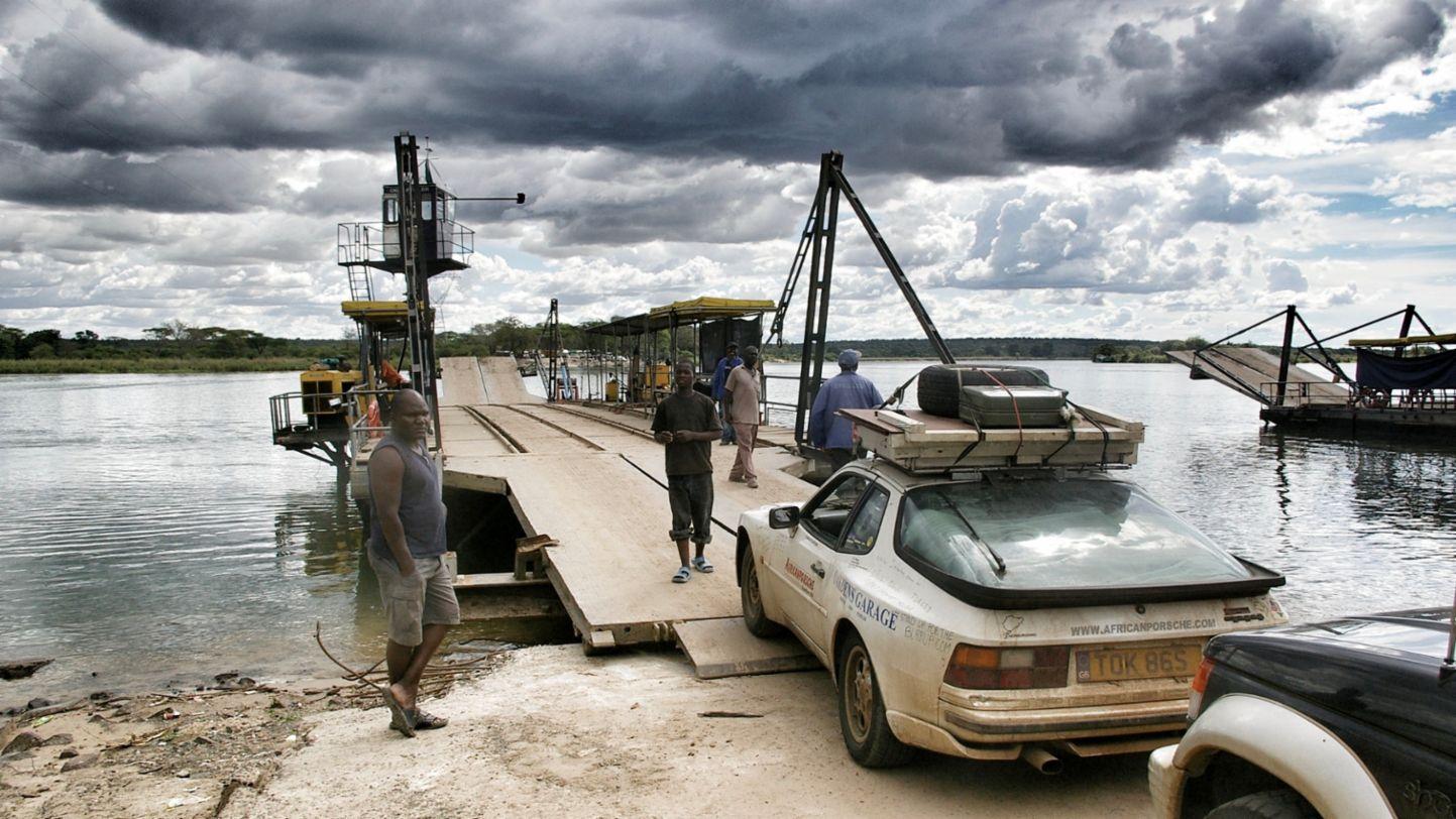 Africa Porsche 944 boarding river ship