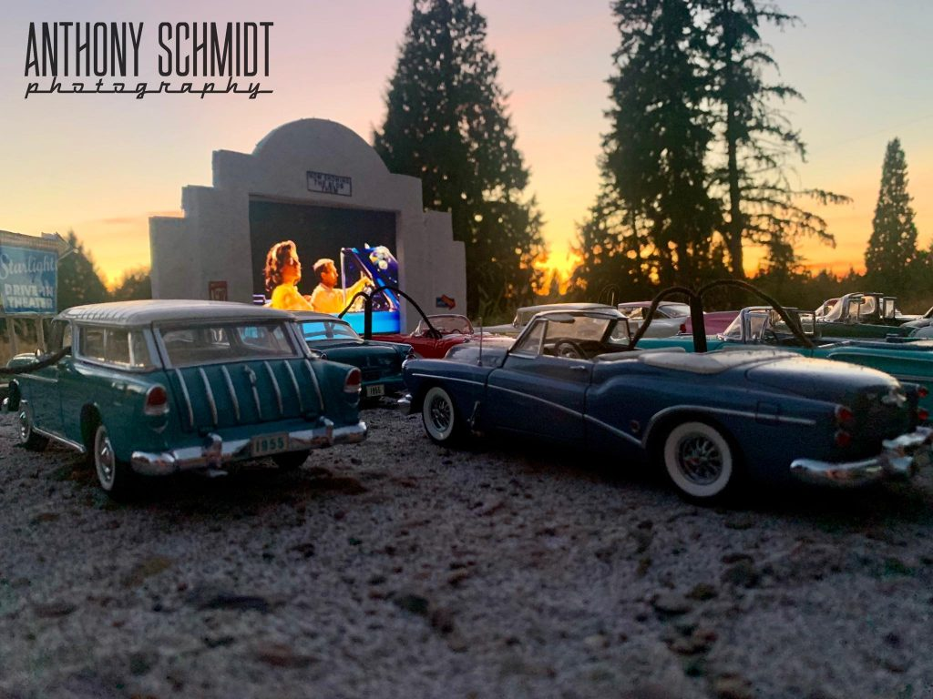 Anthony Schmidt vintage model cars at outdoor movie theatre