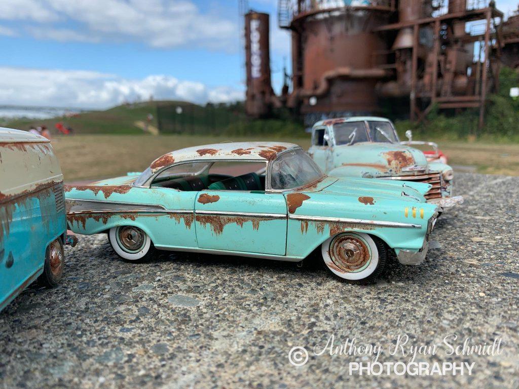 Anthony Schmidt vintage patina model car near factory