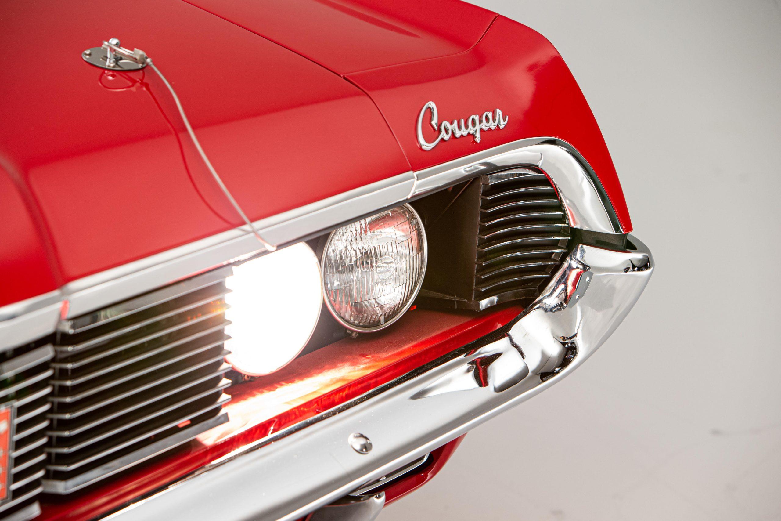 Mercury Cougar Convertible headlight lettering detail