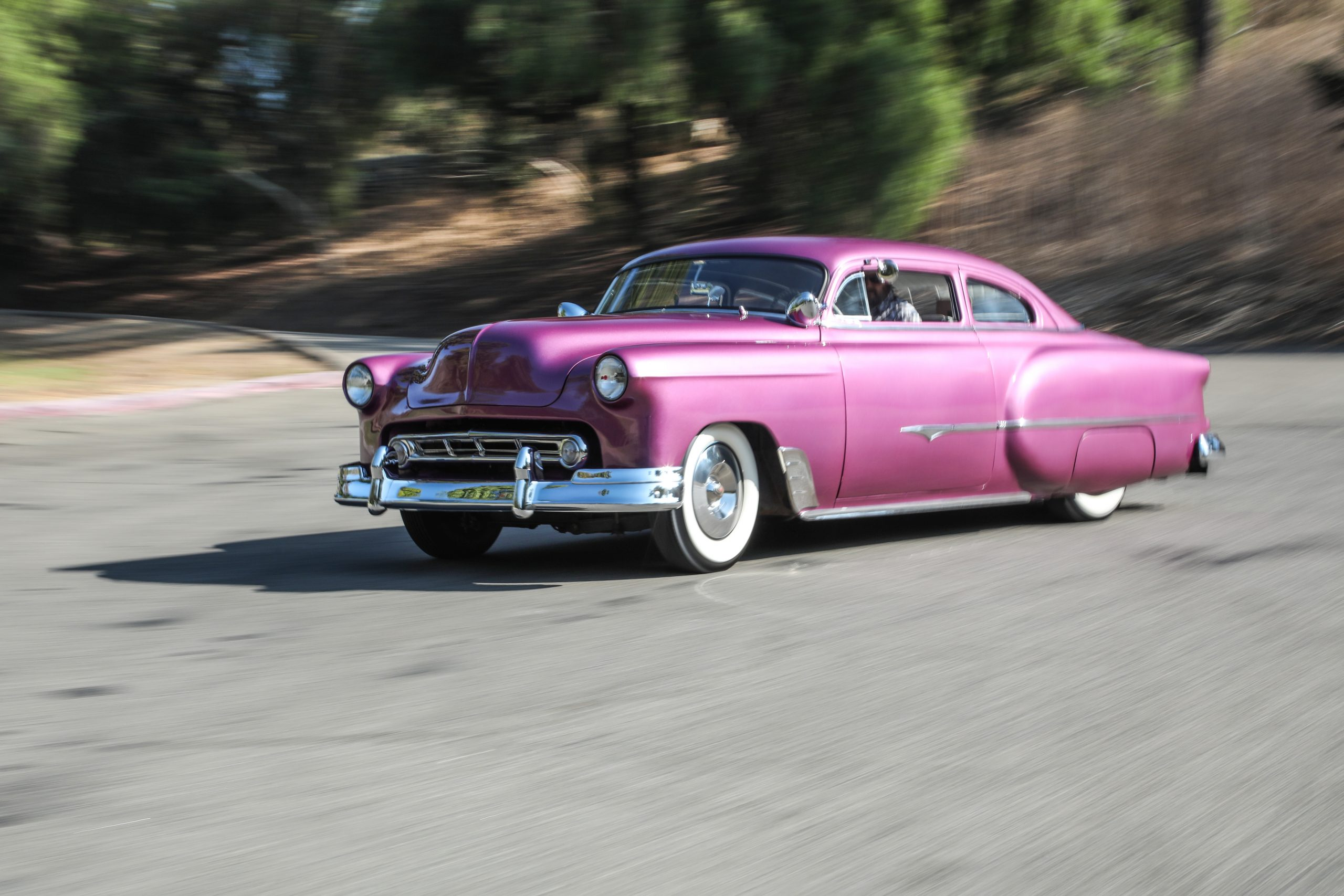 Coulter Jacobs purple hot rod front three-quarter action