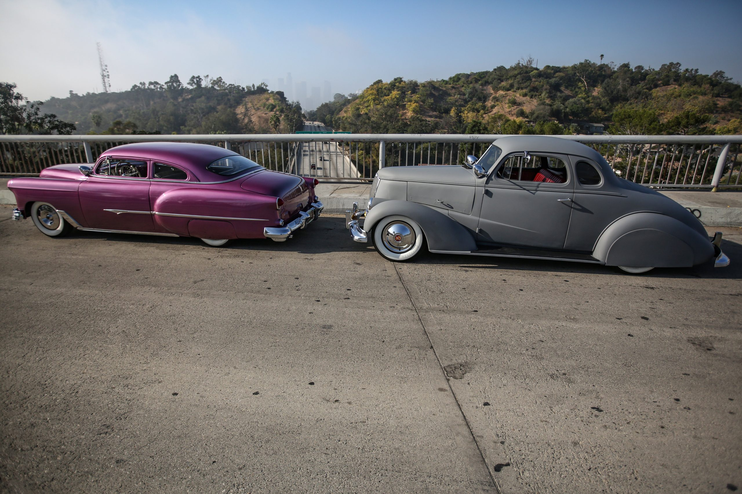 Coulter Jacobs hot rods on highway overpass