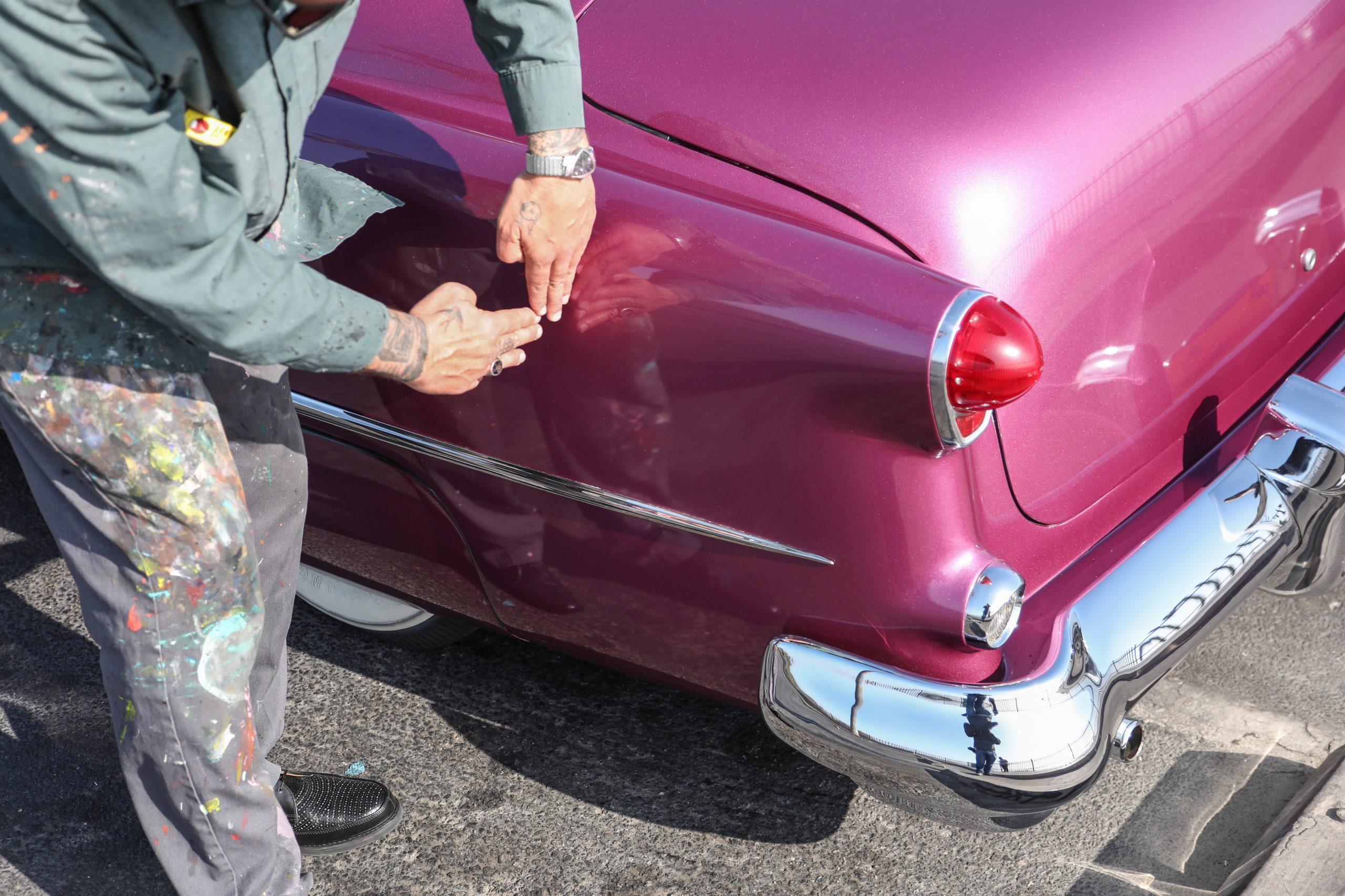 Coulter Jacobs purple hot rod rear quarter panel