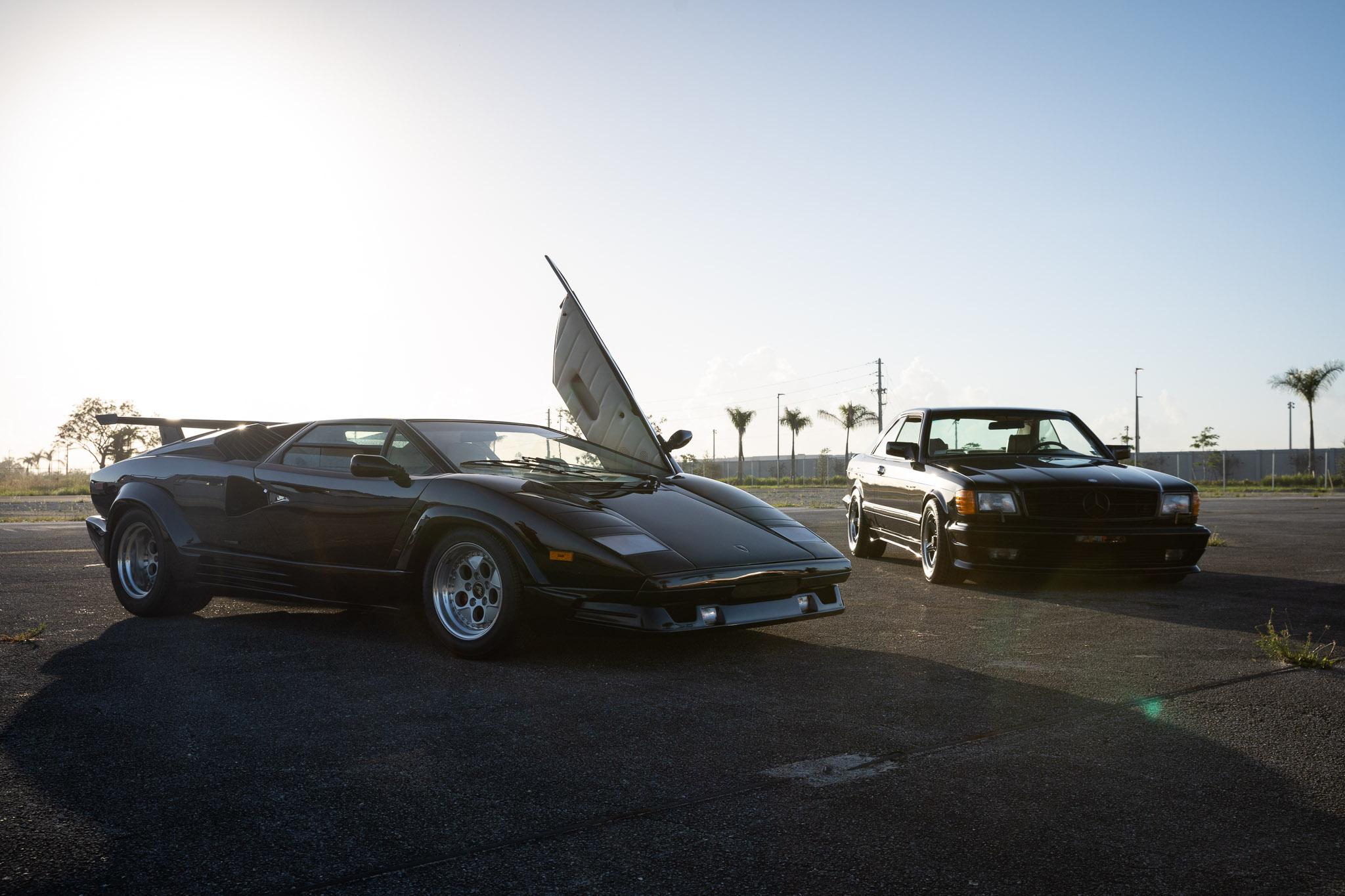 Lamborghini countach and mercedes