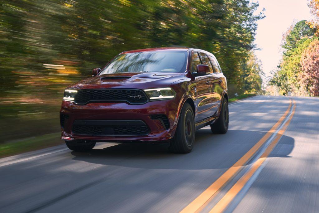 2021 Dodge Durango SRT Hellcat octane red front three-quarter action