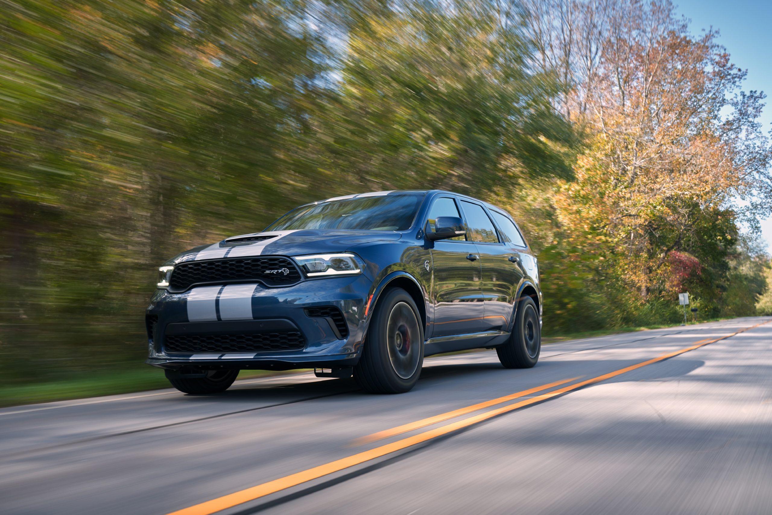 2021 Dodge Durango SRT Hellcat reactor blue silver stripes front three-quarter action
