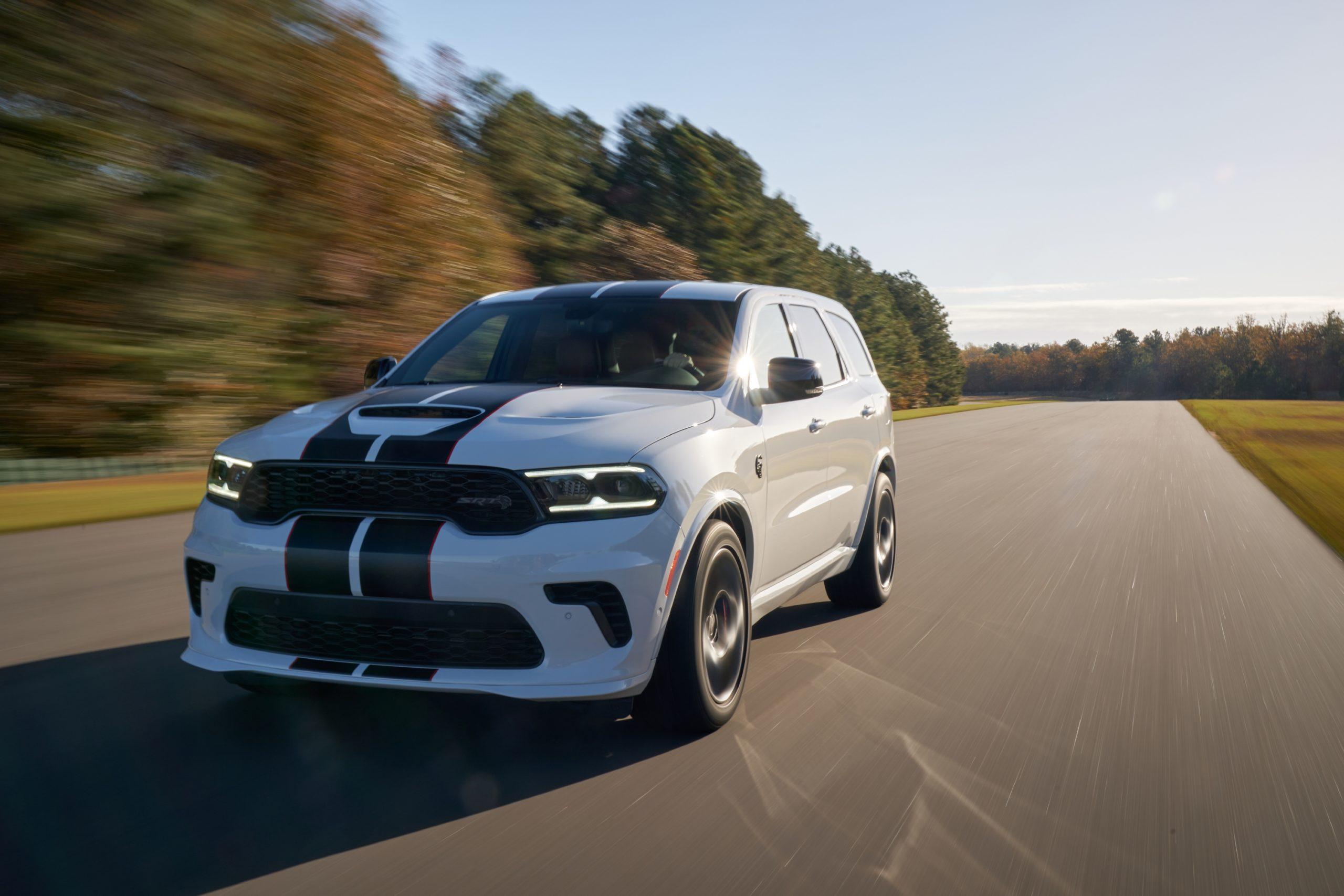 2021 Dodge Durango SRT Hellcat white knuckle red black stripe front three-quarter track action