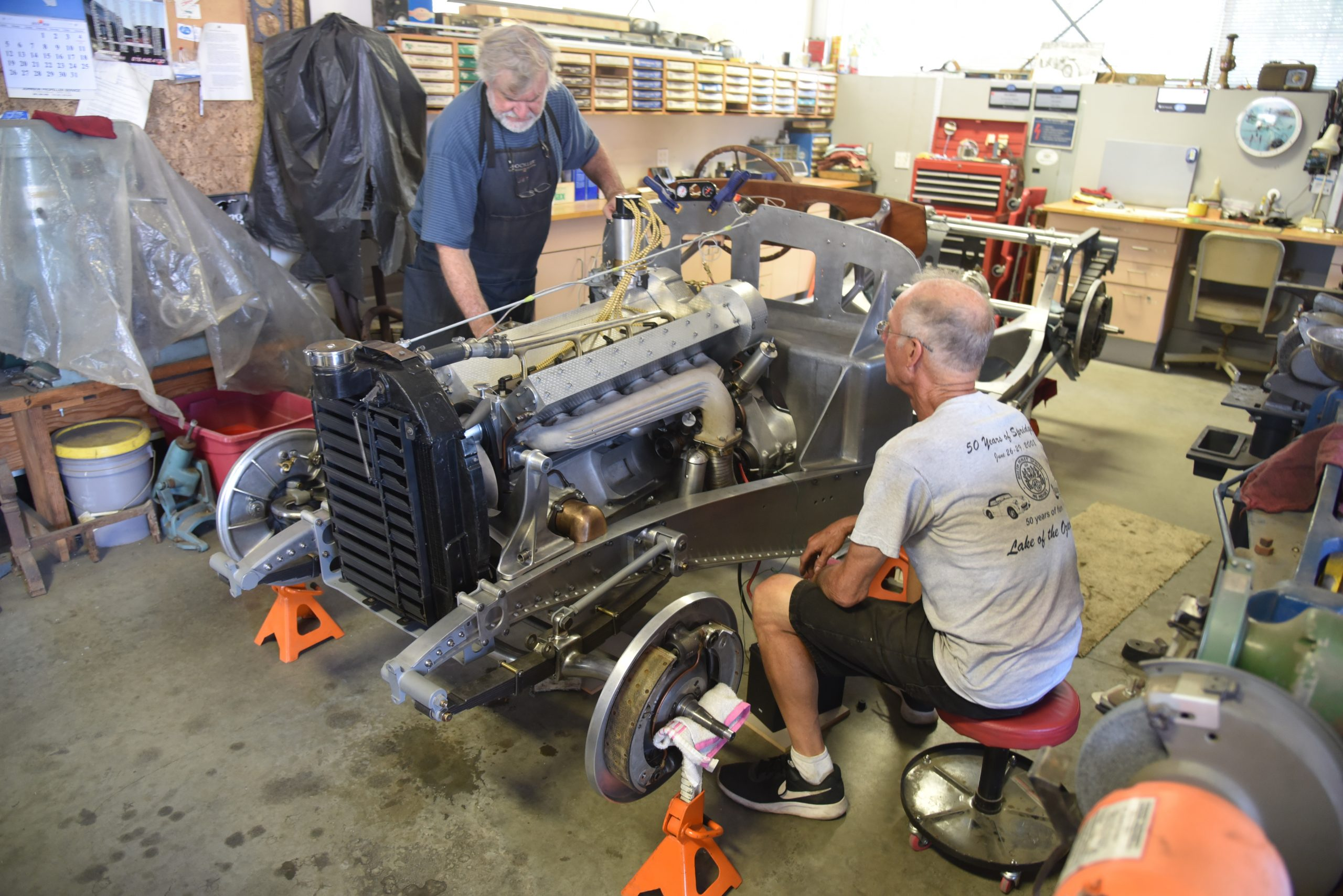 3.3-liter Bugatti straight-eight install front three-quarter
