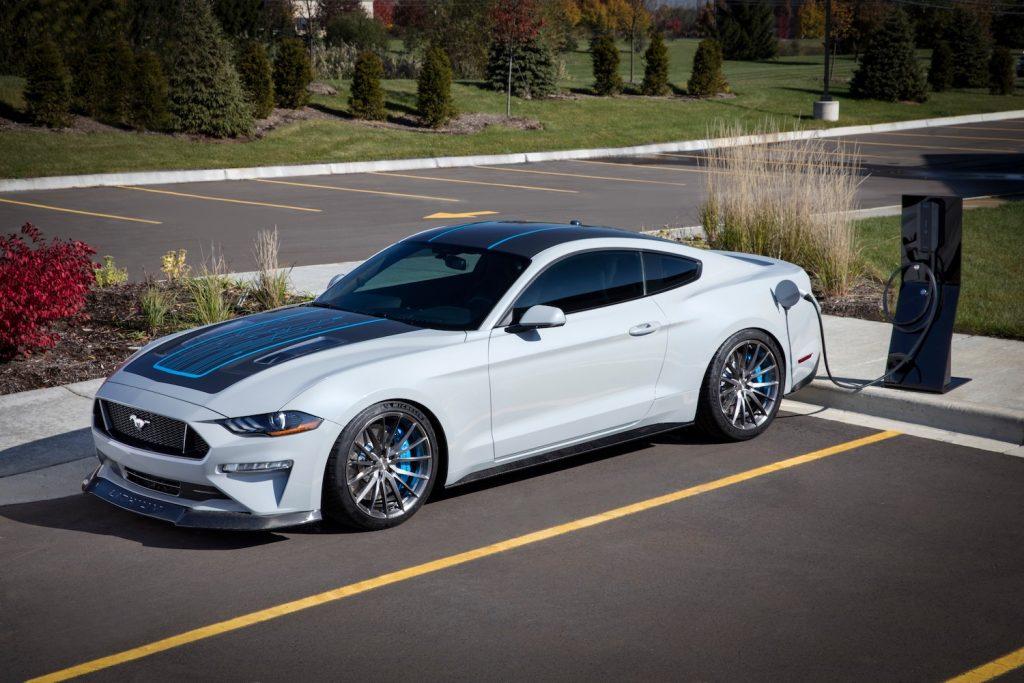 Mustang Lithium EV charging in parking lot