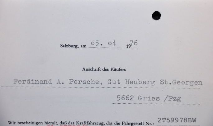 Ferdinand Porsche Owned Jaguar XJ6 - Registration