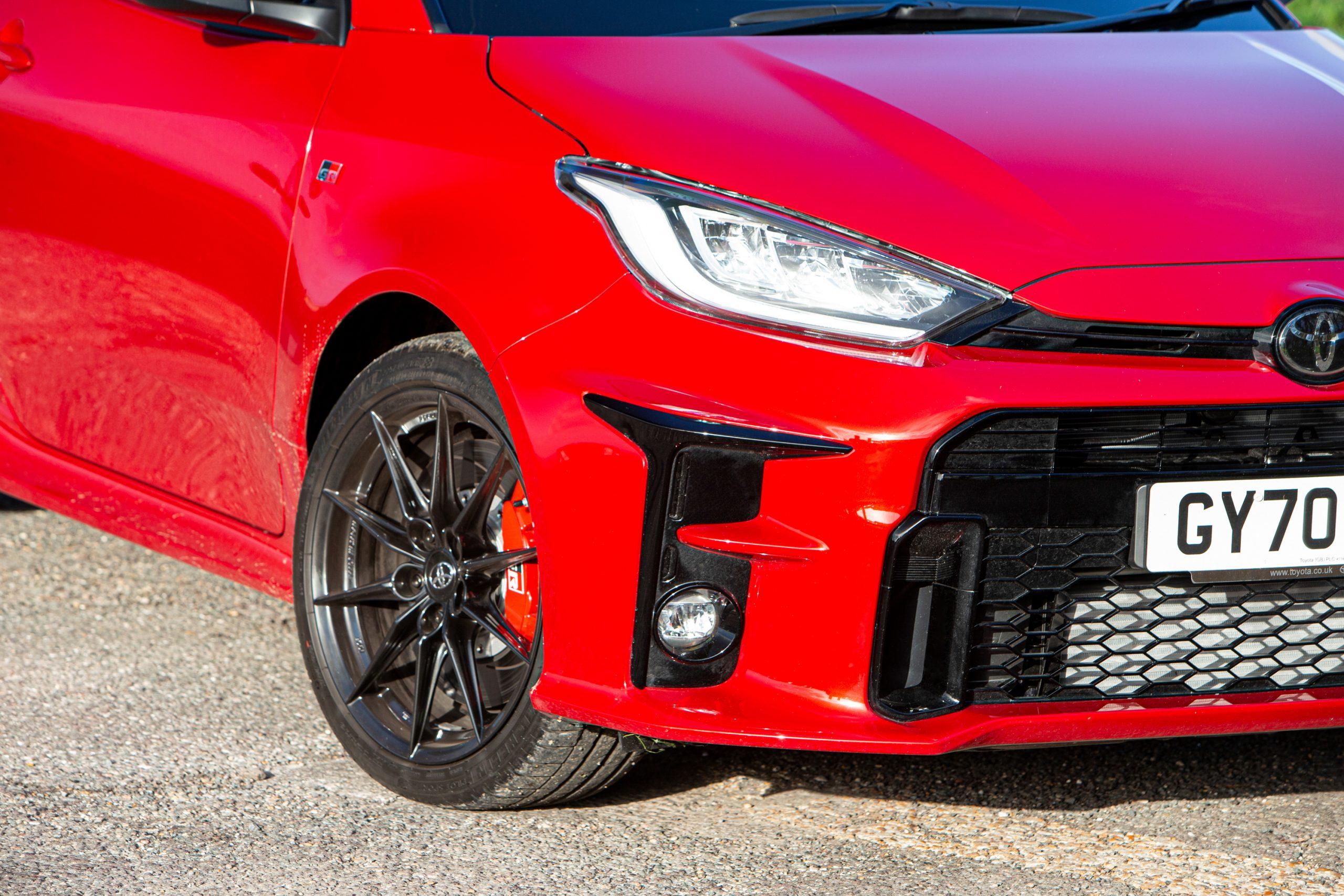 GR Toyota Yaris front headlight close