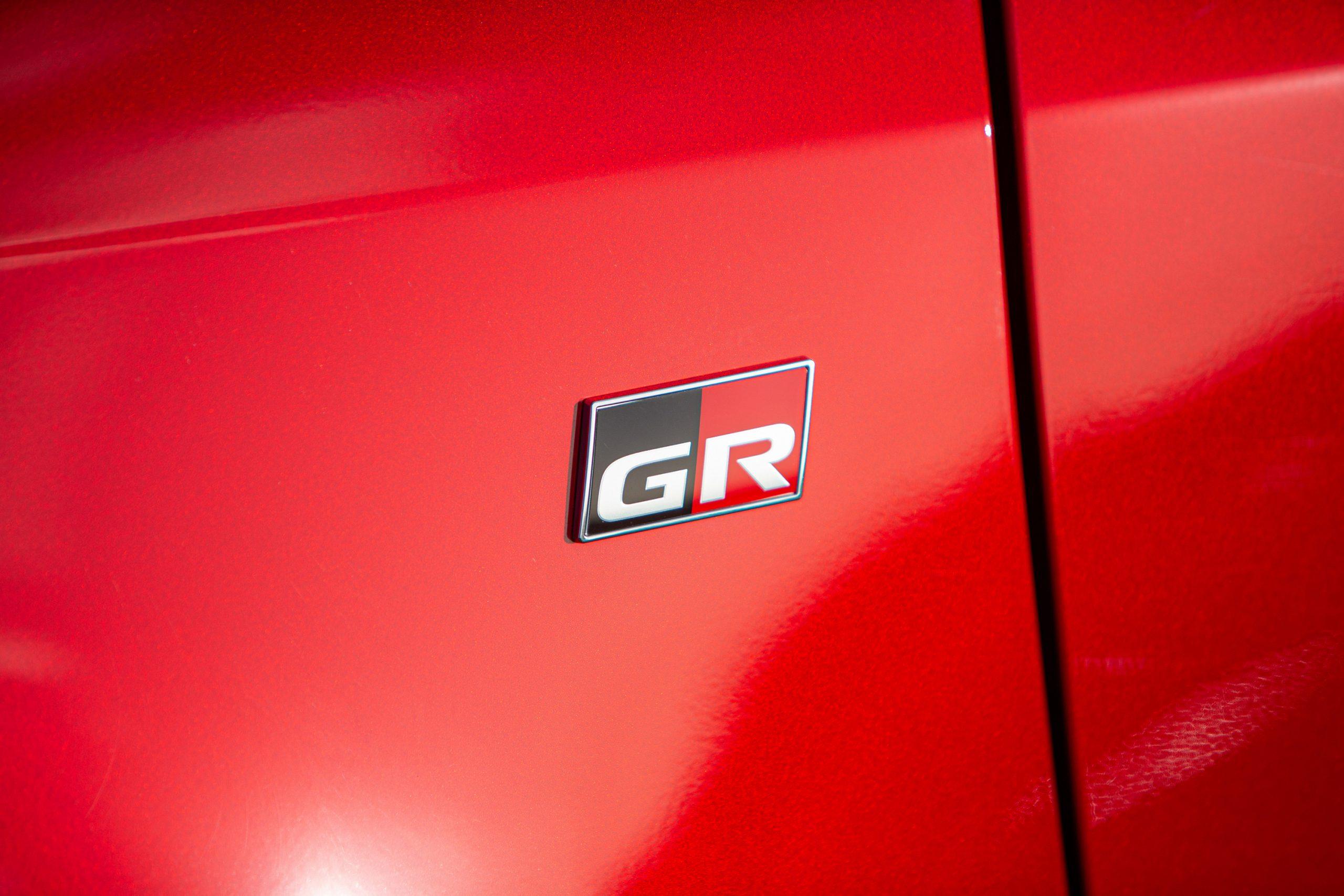 GR Toyota Yaris side panel logo badge detail