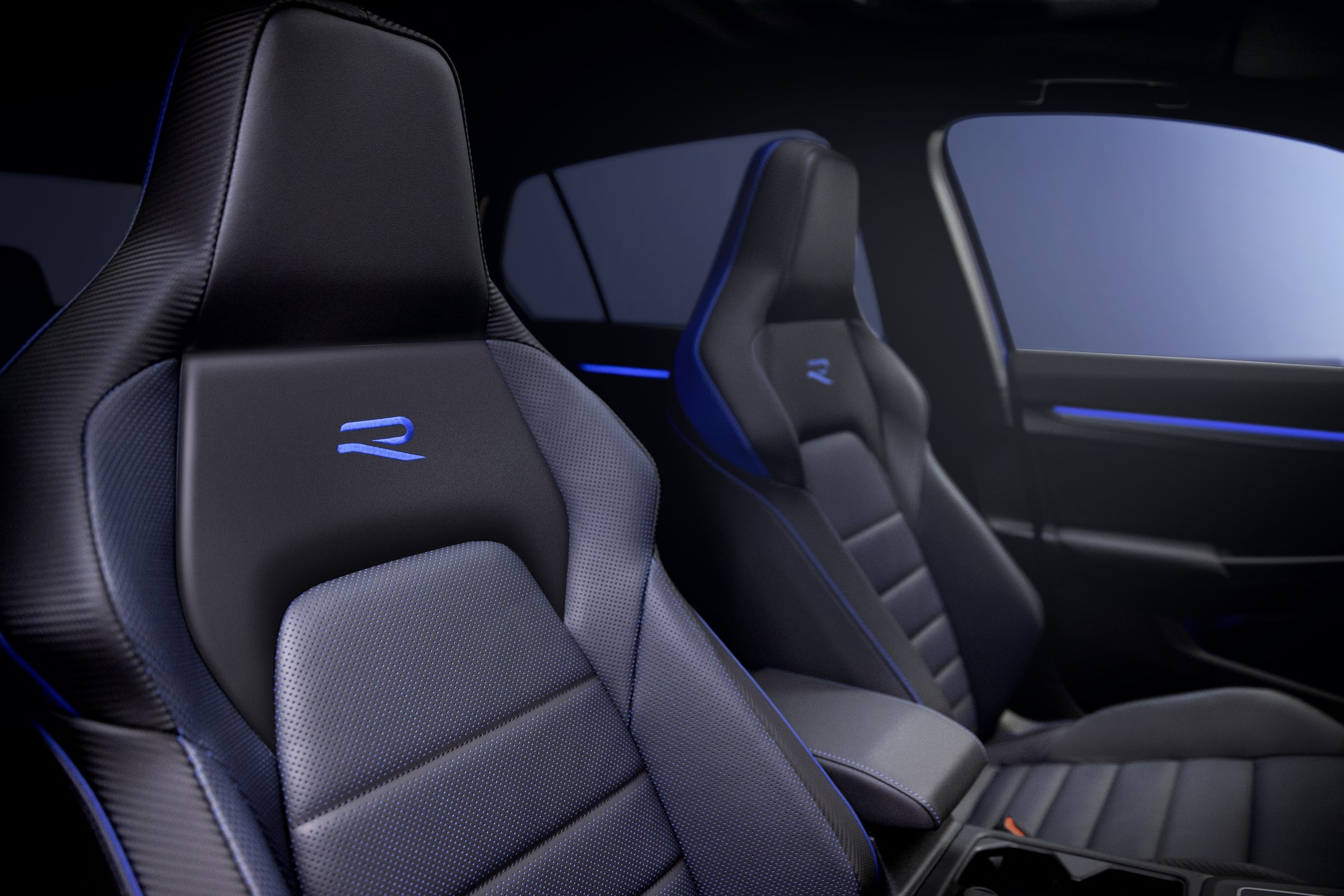 Golf R interior seat embroidery detail