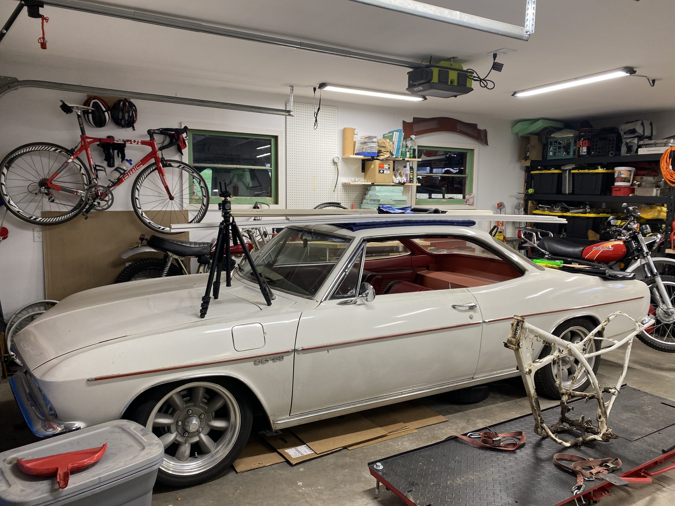 Corvair with items piled on