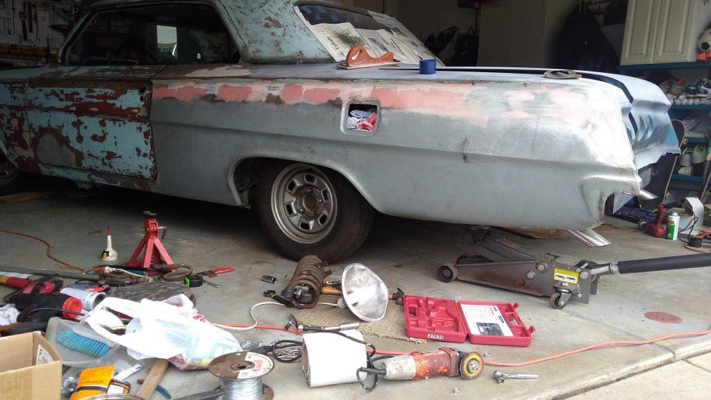Jason Prince - 1962 Chevrolet Impala - Before resto - Drivers side rear in progress