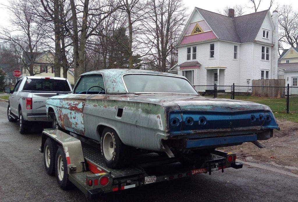 Jason Prince - 1962 Chevrolet Impala - Before resto - On trailer