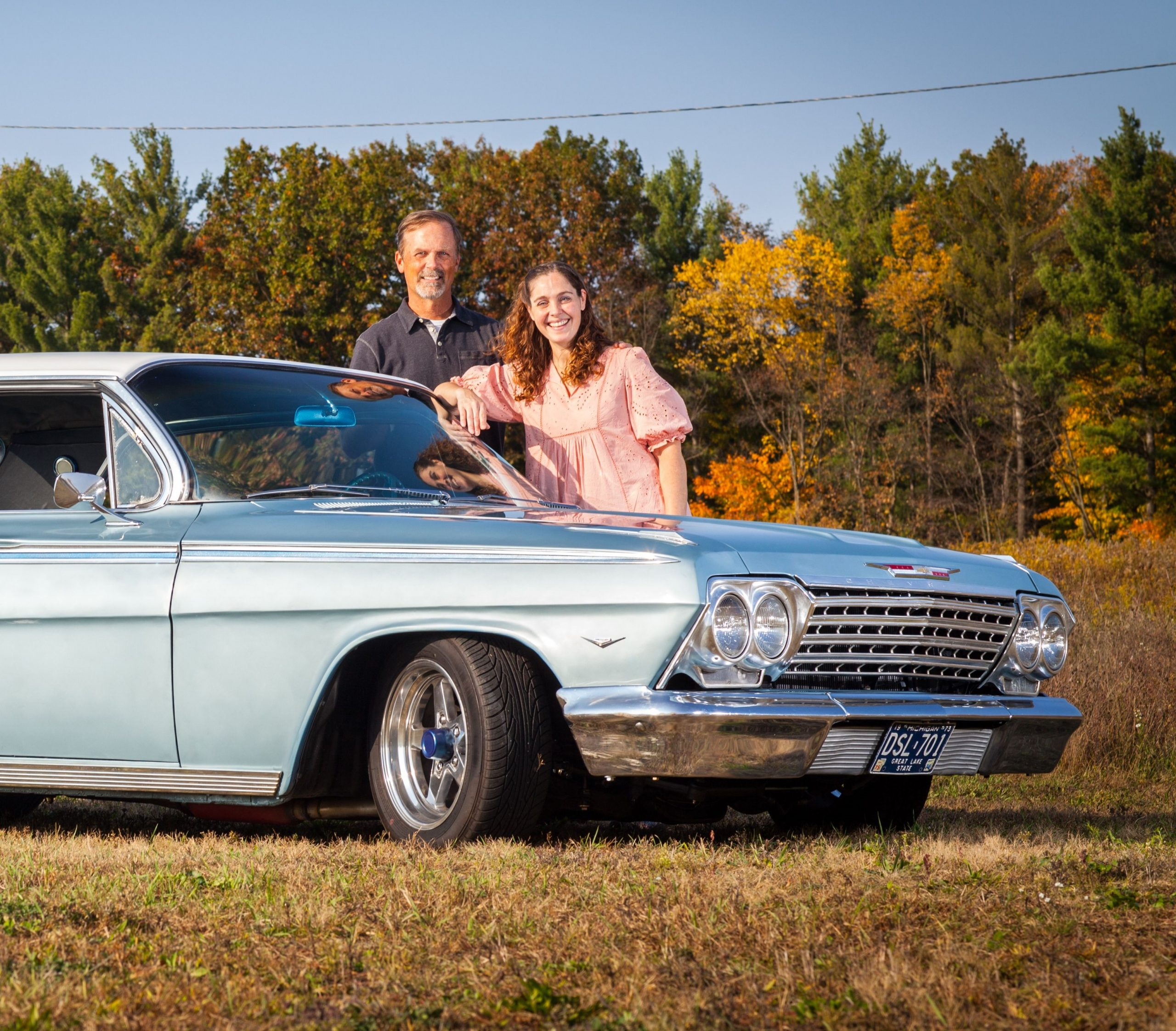 Jason Prince - 1962 Chevrolet Impala - Jason and Lynn outside the car