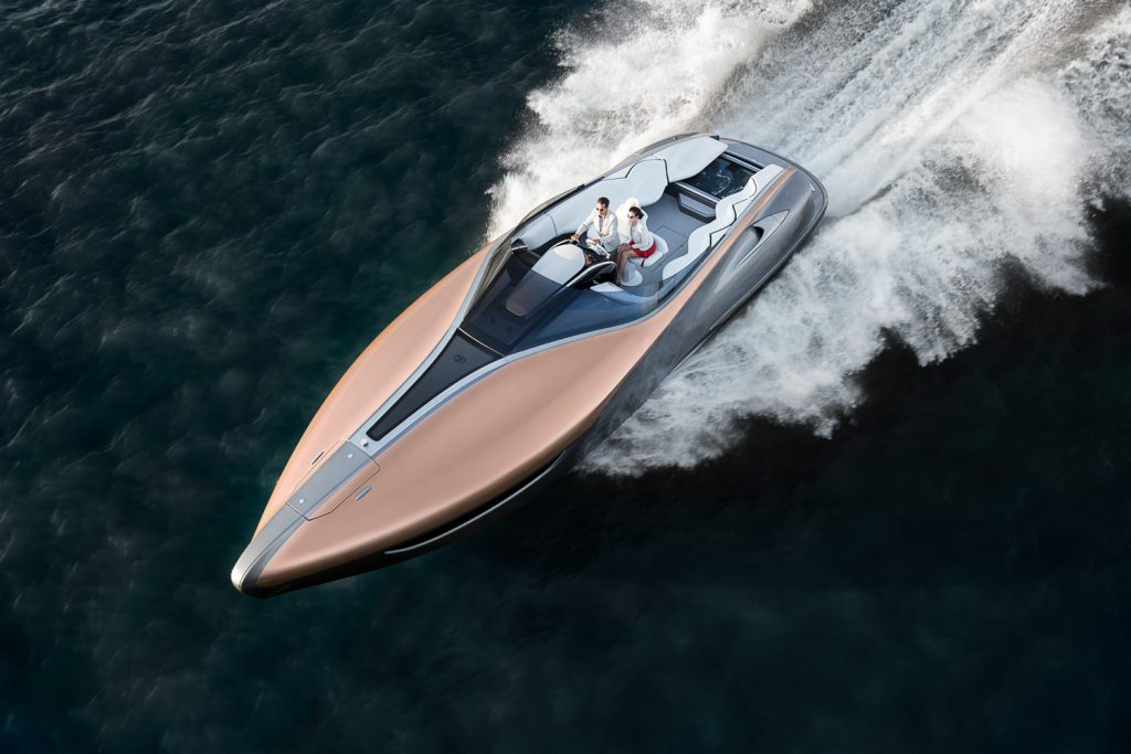 lexus sport yacht concept on water action