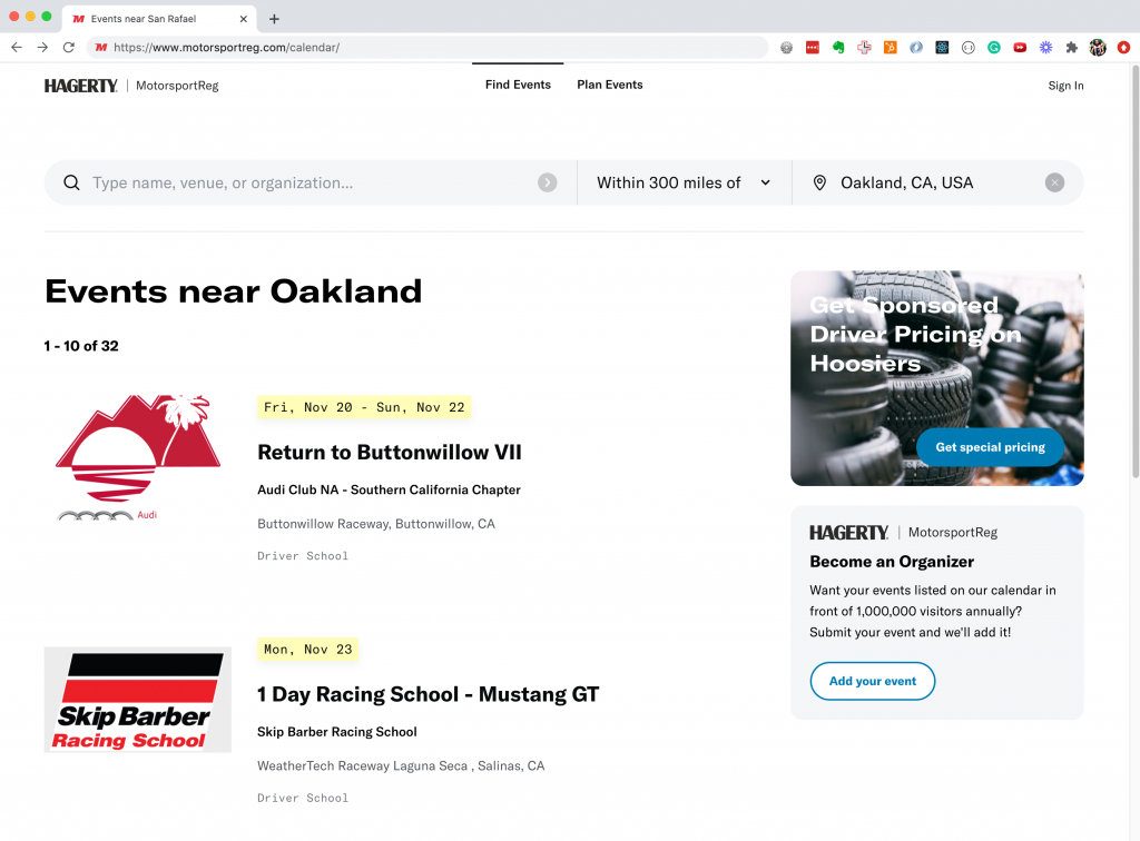 Hagerty MotorsportReg events list search results