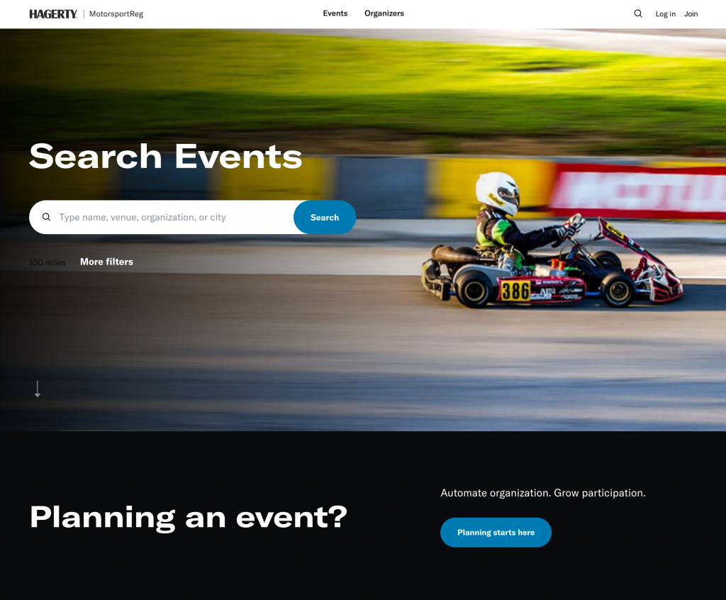 Hagerty MotorsportReg events search landing page