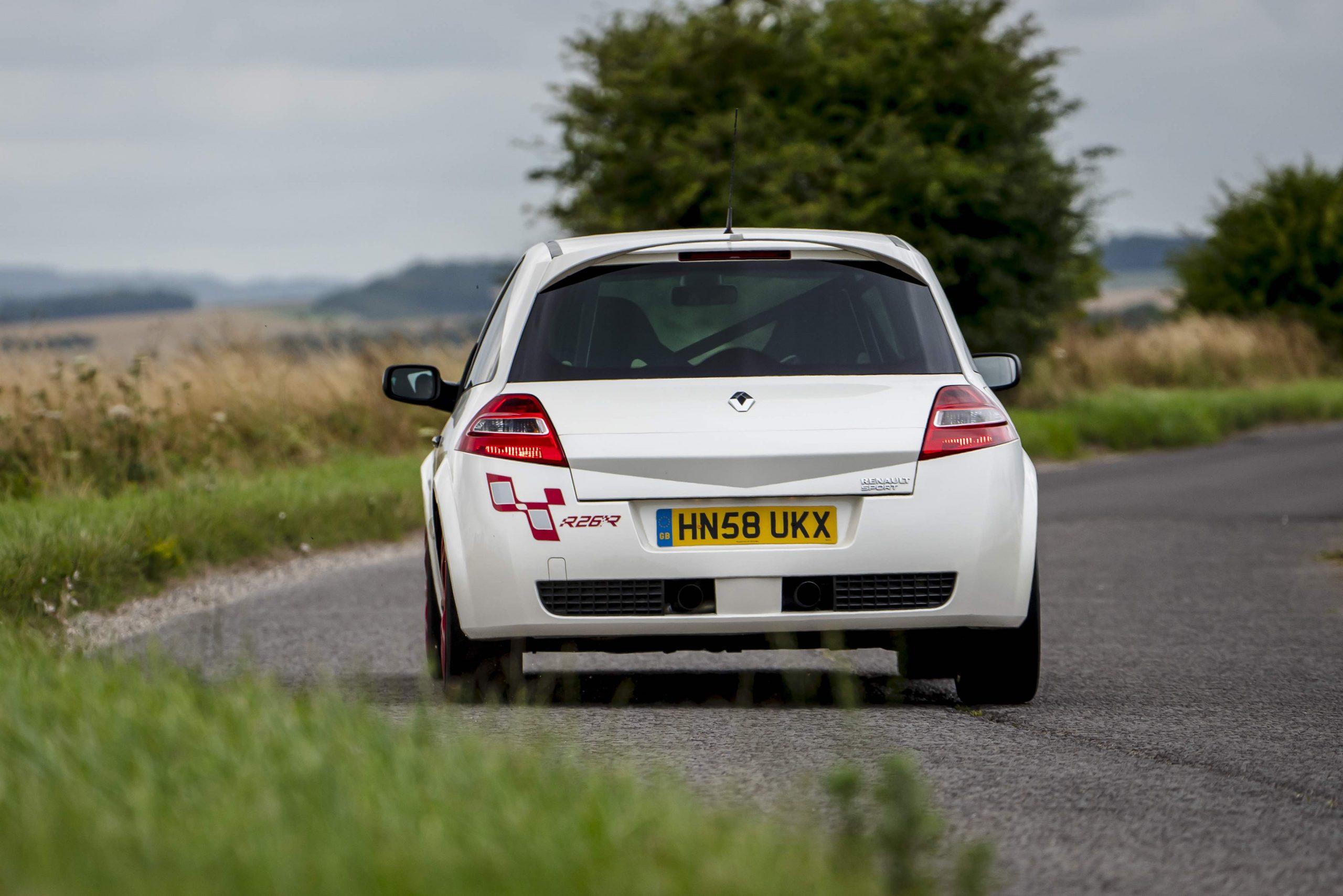 renault megane r26r rear on road action