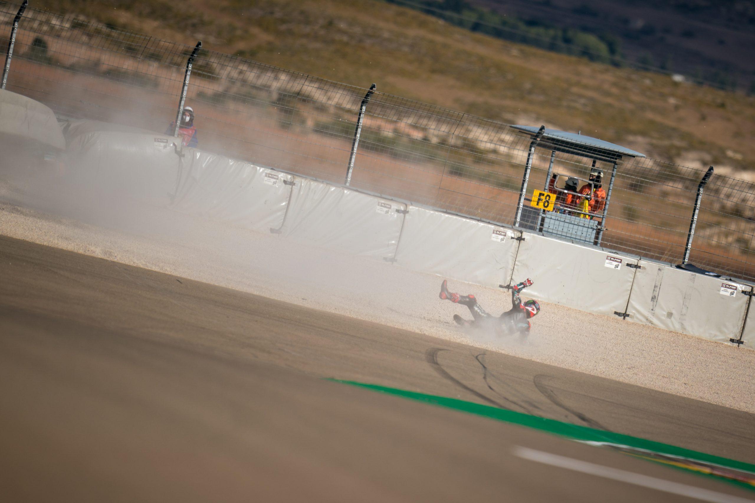 Fabio Quartararo practice crash slide