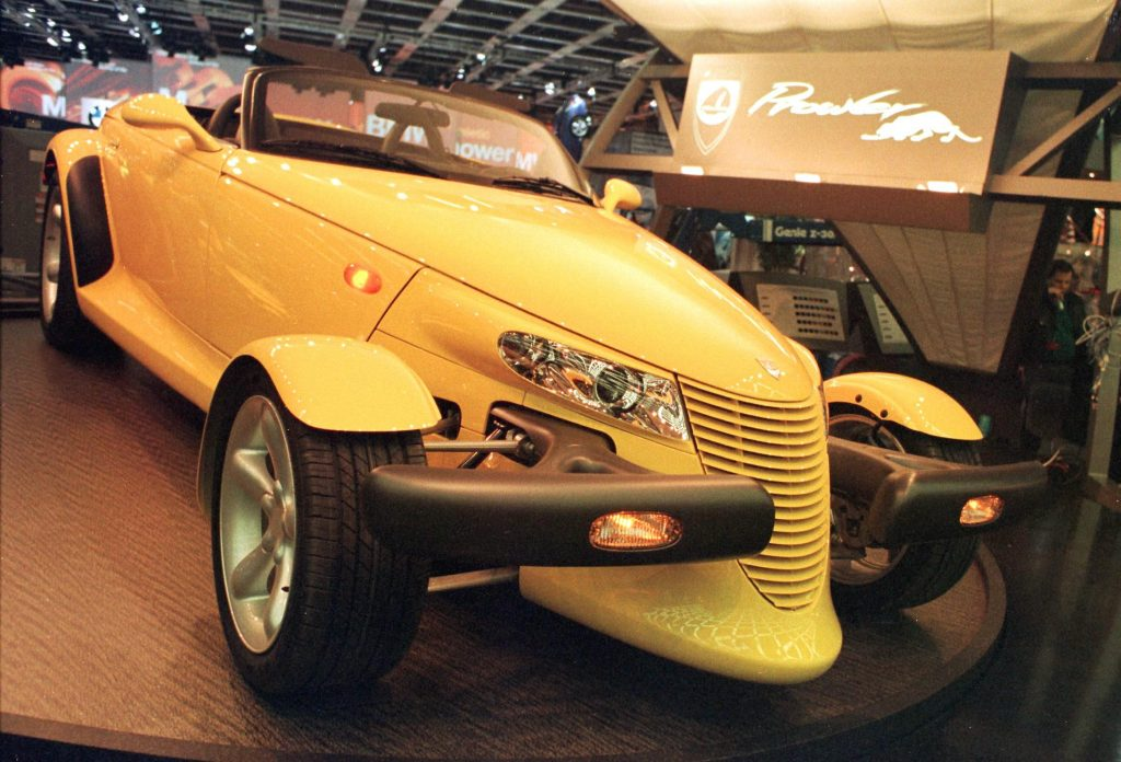 Plymouth Prowler display North American International Auto Show in Detroit MI
