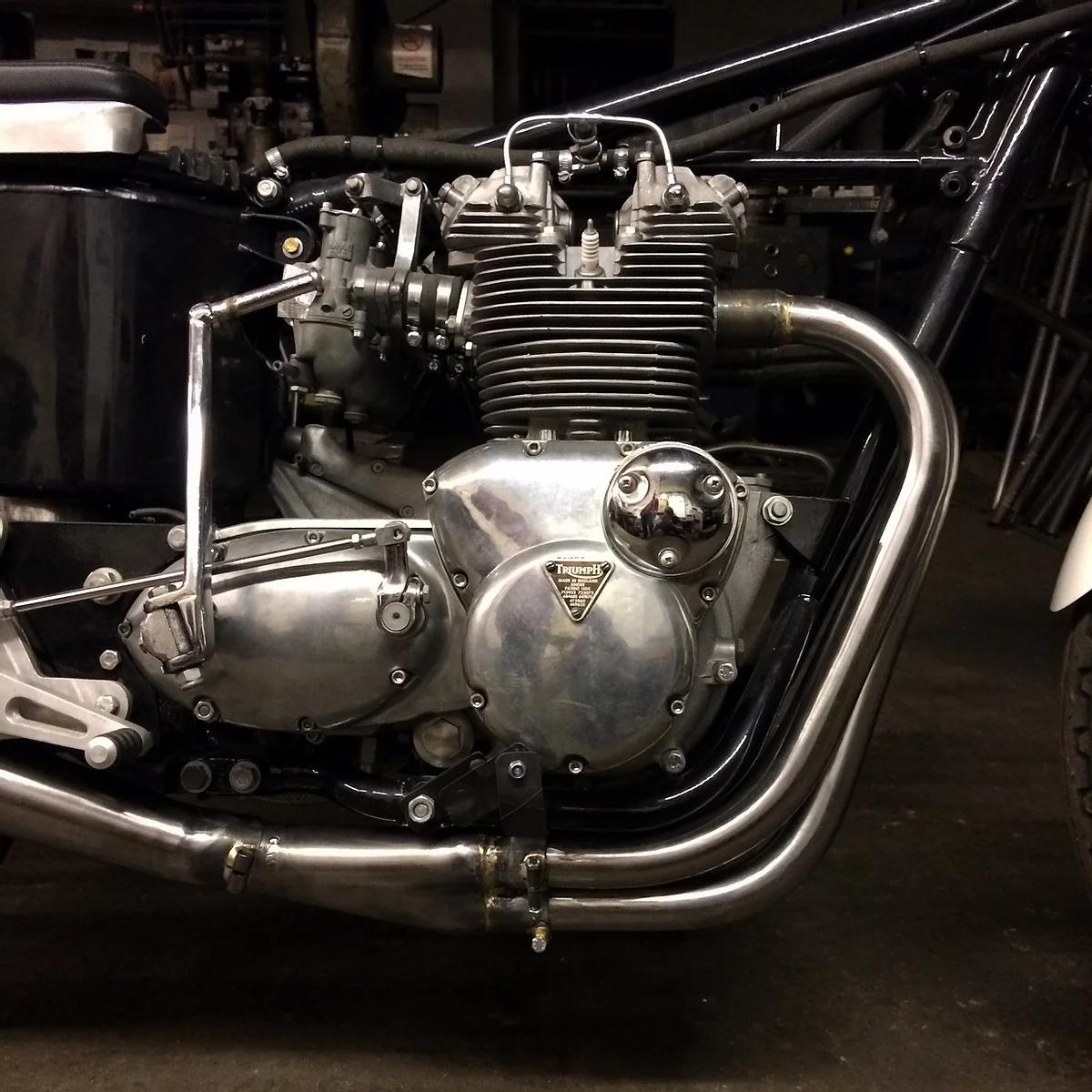 raysons exhausts workshop triumph engine close