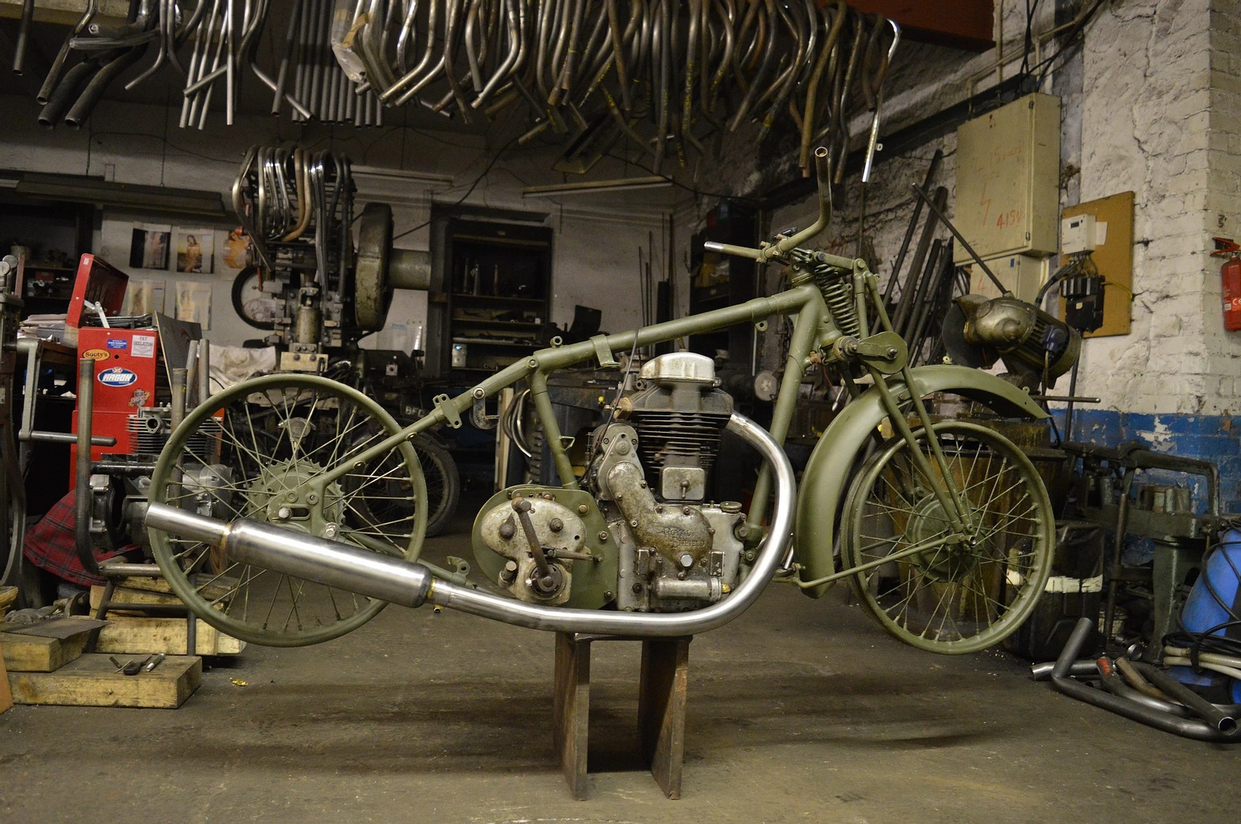 raysons exhausts workshop bike on stand