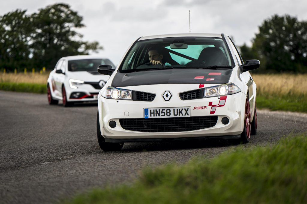 Renault Megane R26R and Trophy R trailing dynamic road action