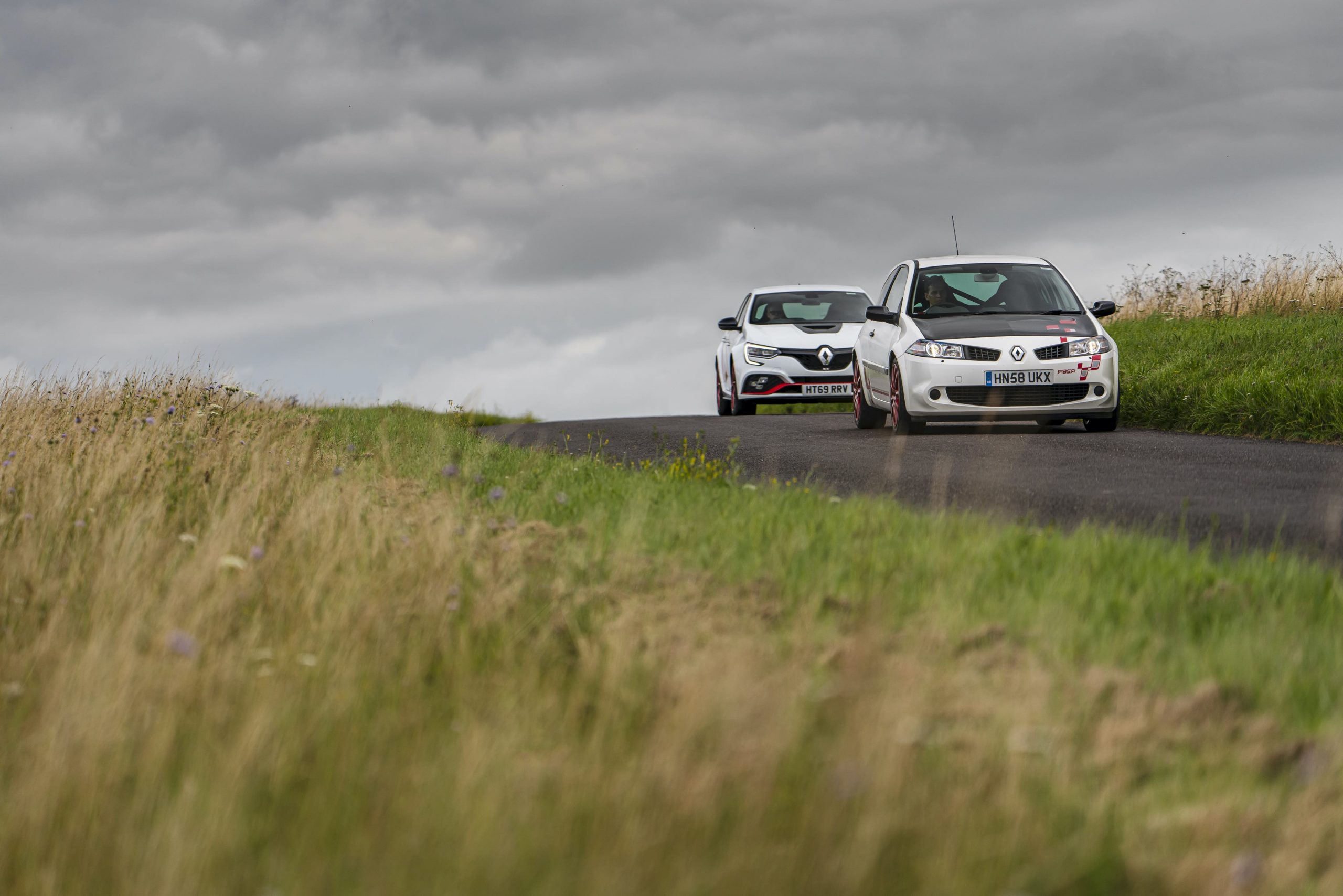 Renault Megane R26R and Trophy R country road action