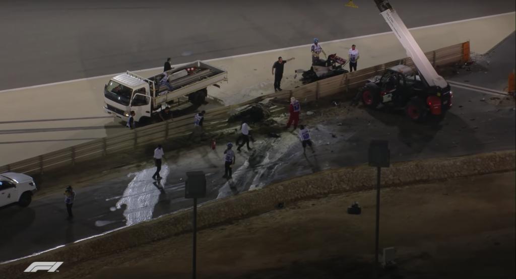romain grosjean crash bahrain gp 2020