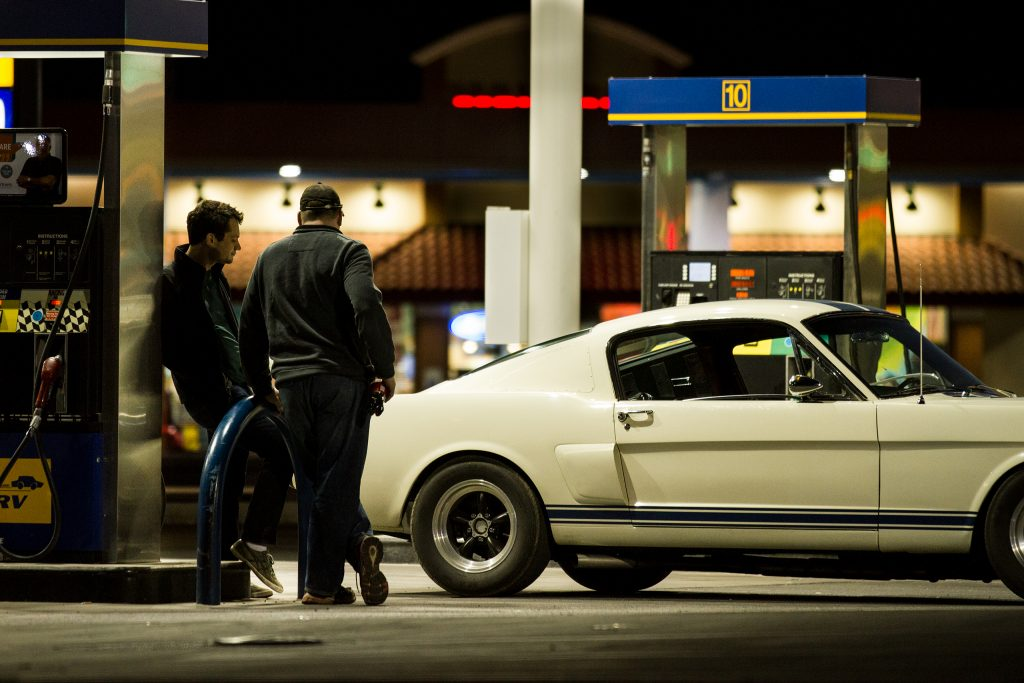 Shelby Fastback gas station fill up