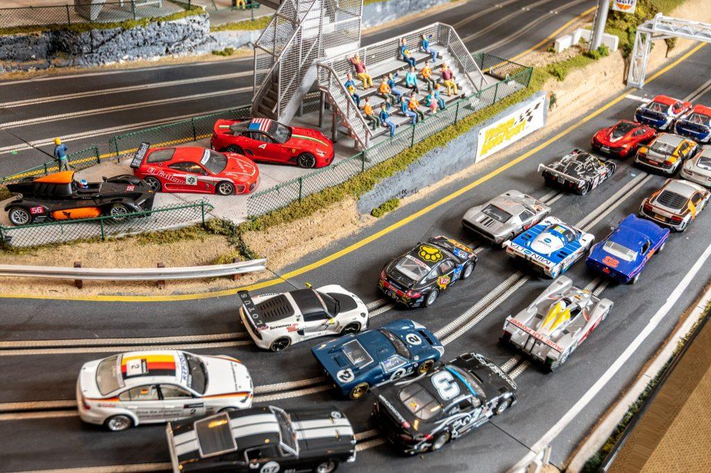 Slot Car Racetrack starting grid detail