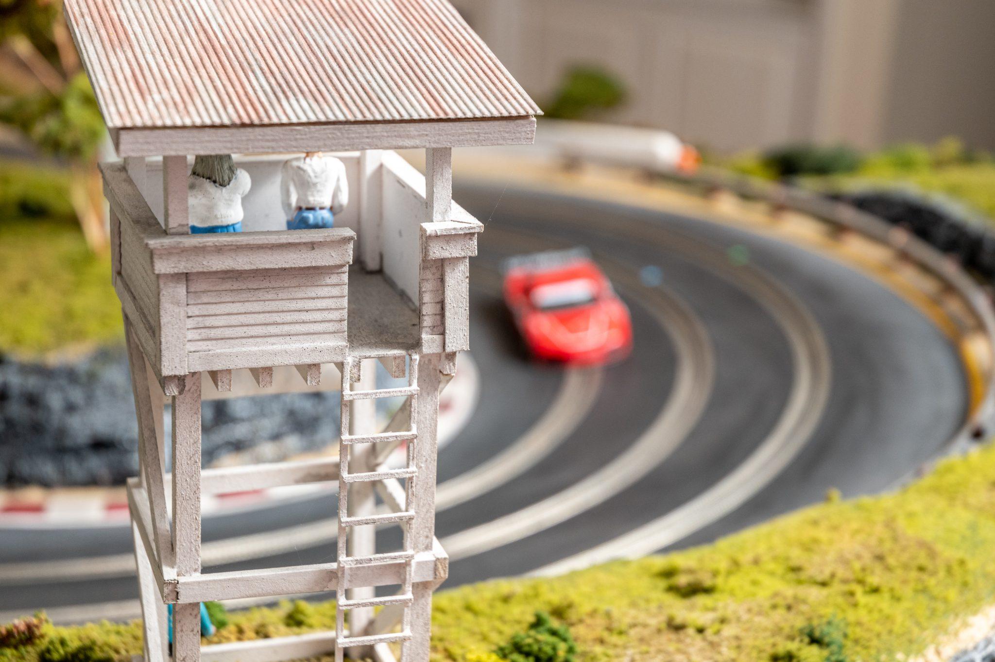 Slot Car Racetrack cornering watch tower detail