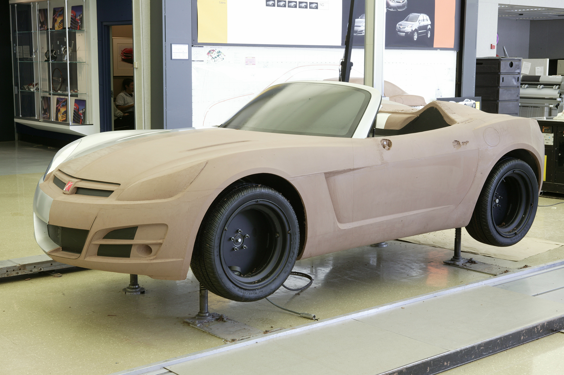 saturn sky clay model on stands