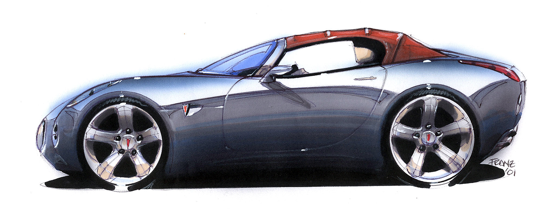 2002 pontiac solstice side profile watercolor design drawing