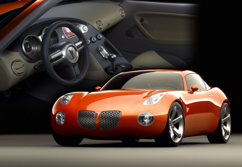 2002 pontiac solstice coupe concept interior exterior graphic rendering