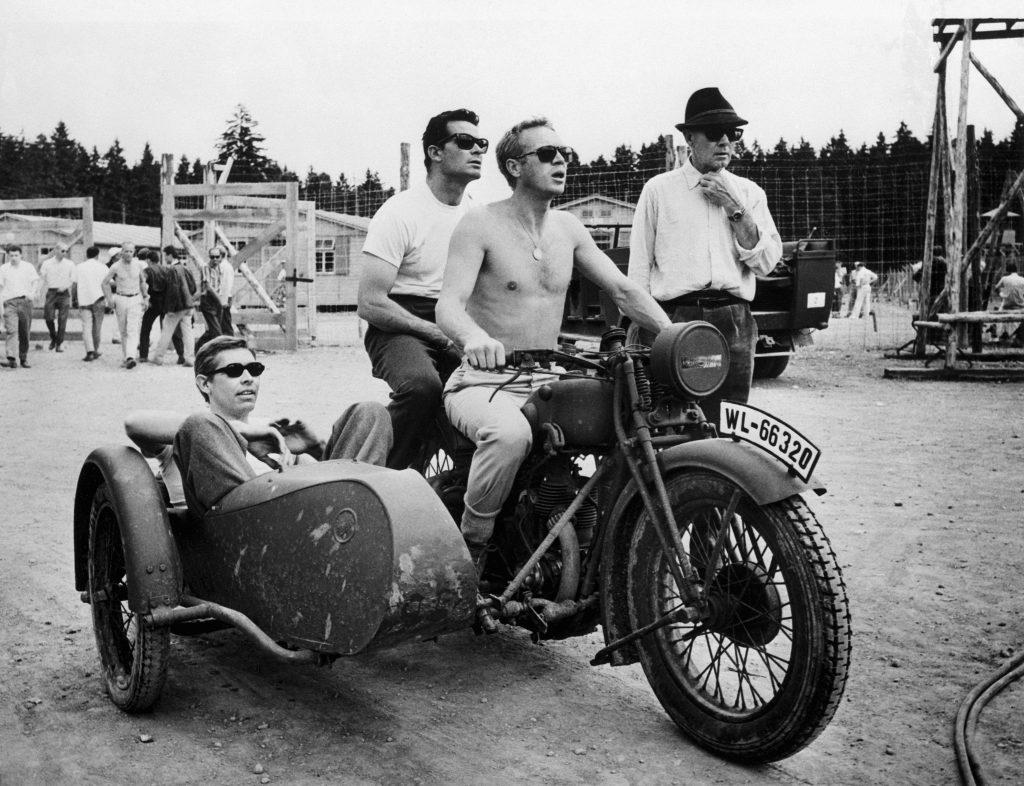 Steve McQueen on Motorcycle with James Garner James Coburn