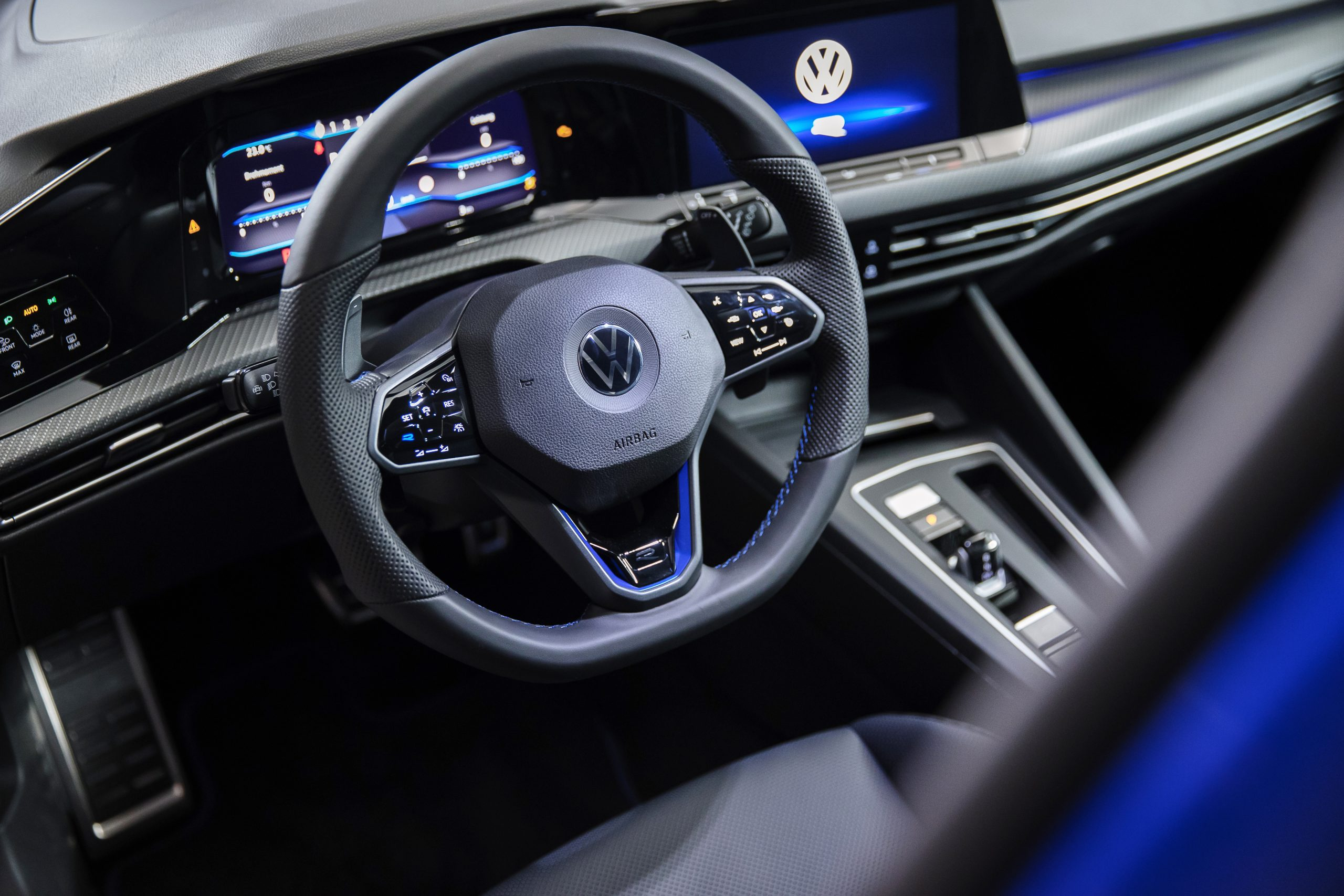 Golf R interior steering wheel detail