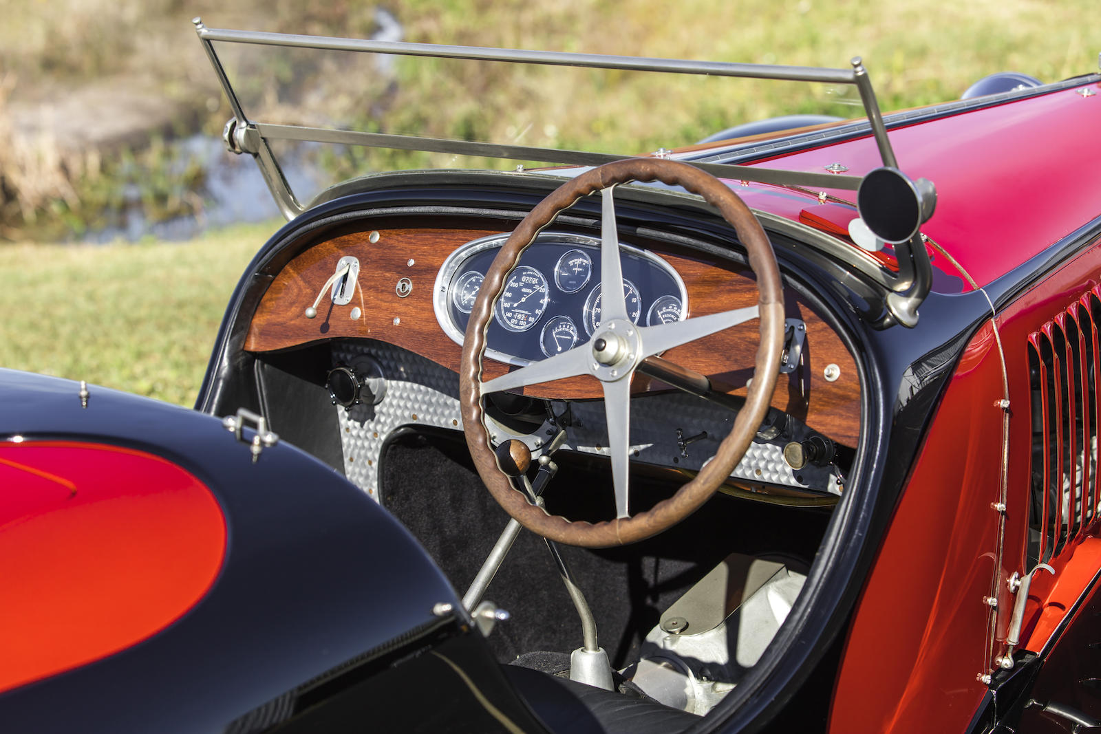 1932 Bugatti Type 55 SS Roadster interior cockpit