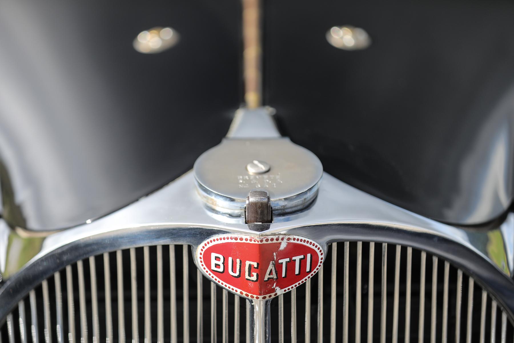 1937 Bugatti Type 57S Atalante front emblem grille detail